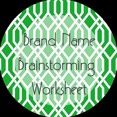 Worksheets--- Brand Name Brainstorming Worksheet