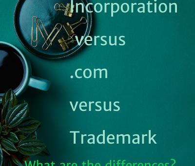 Incorporation vs .com vs TM--Business and Brand