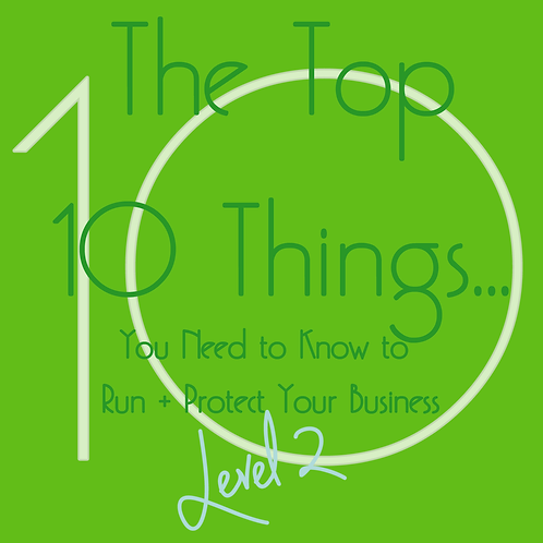 The Top 10 Things... You Need to Know to Run + Protect Your Business- LEVEL 2