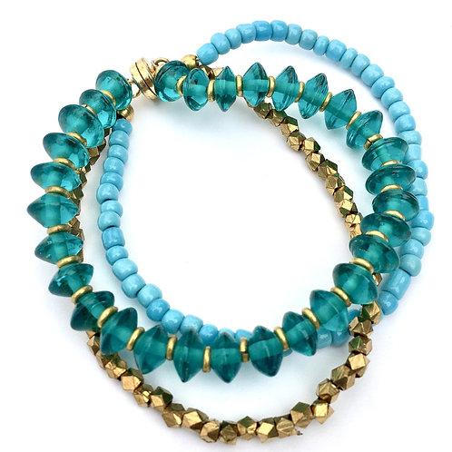 Aquamarine Glass Magnetic Bracelet