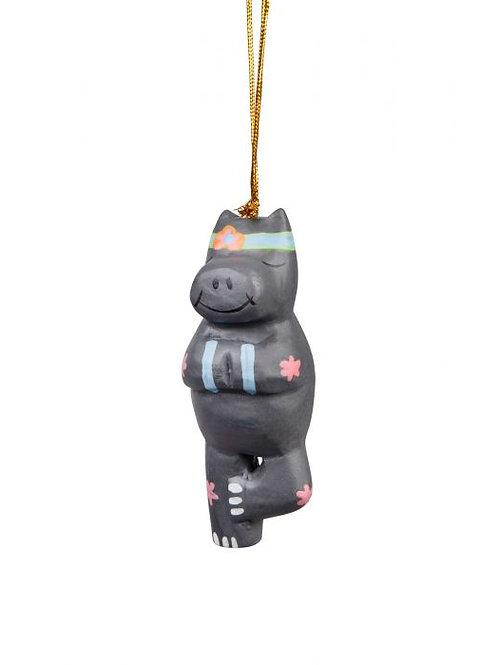 Tree Pose Hippo Ornament