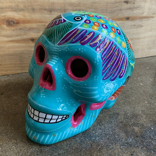 Turquoise with Pink Skull