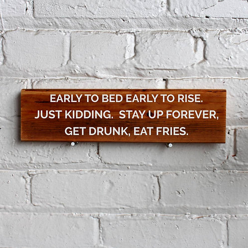 Early to Bed Wall Sign