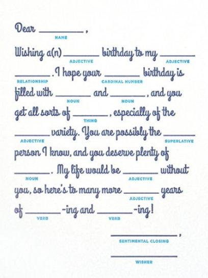 Mad Lib Birthday