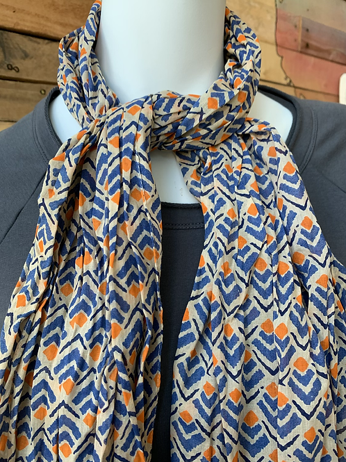 Blue and Orange Cotton Scarf
