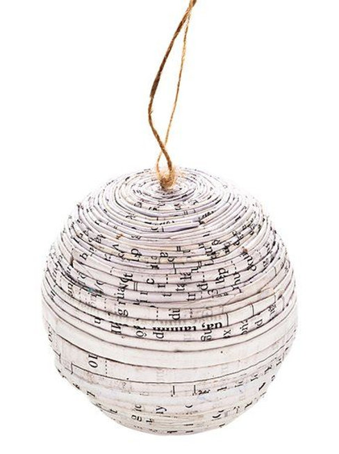 Recycled Paper Black/White Ornament