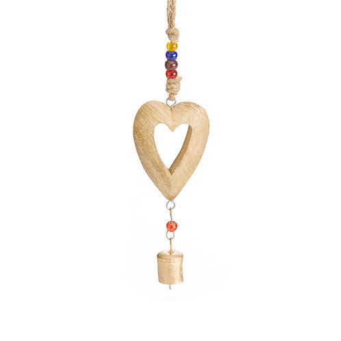 Wooden Heart Bell Hanger