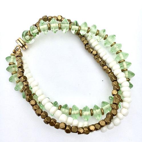 Seafoam Green Glass Magnetic Bracelet