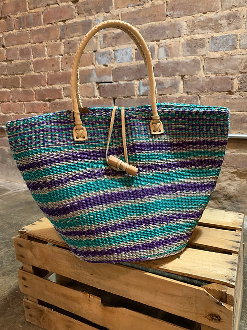 Blue Sisal Handbag with Leather Straps