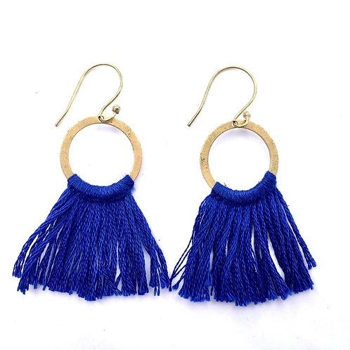 Ocean Blue Fringe Earrings
