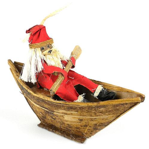Banana Fiber Santa in a Boat Ornament