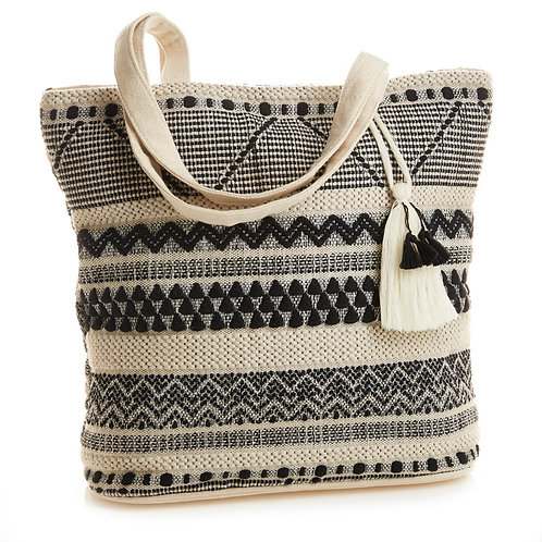 Black and White Jacquard Tote Bag