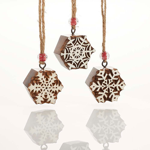 Woodblock Snowflake Ornament