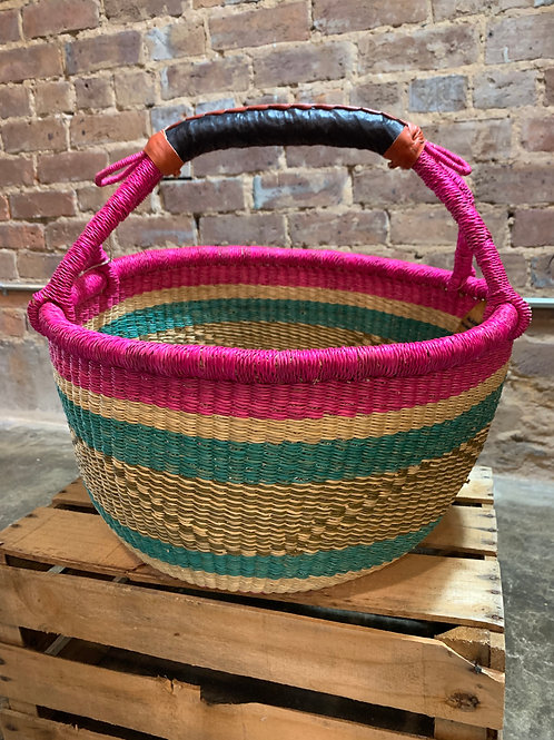 Handwoven Basket Pink and Green