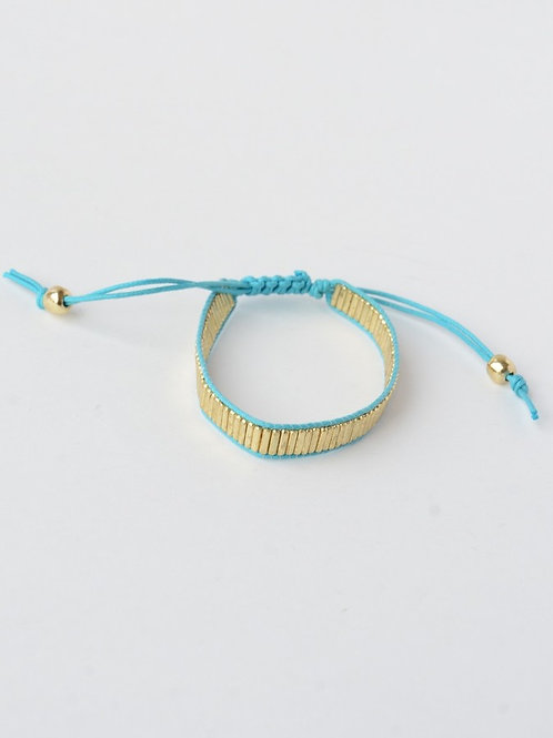 Turquoise and Brass Beaded Bracelet