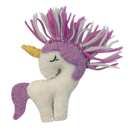 Felt Purple Unicorn Ornament