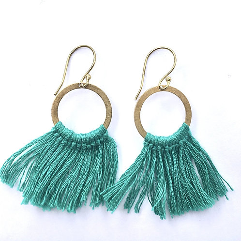 Teal Fringe Earrings