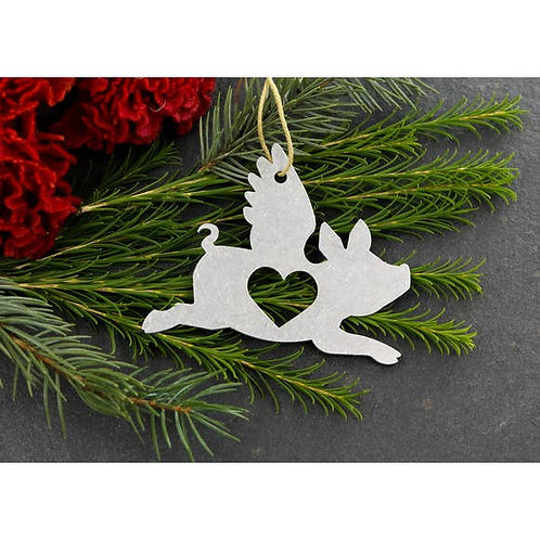 Flying Pig Metal Ornament