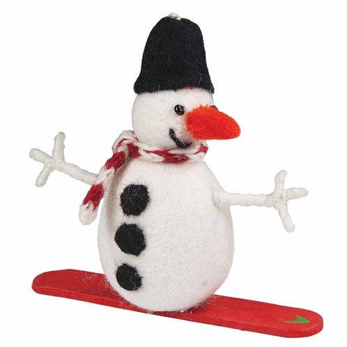 Felt Snowman Snowboard Ornament