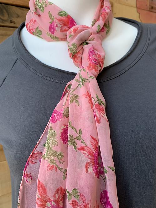 Sari Long Scarf Pink Floral