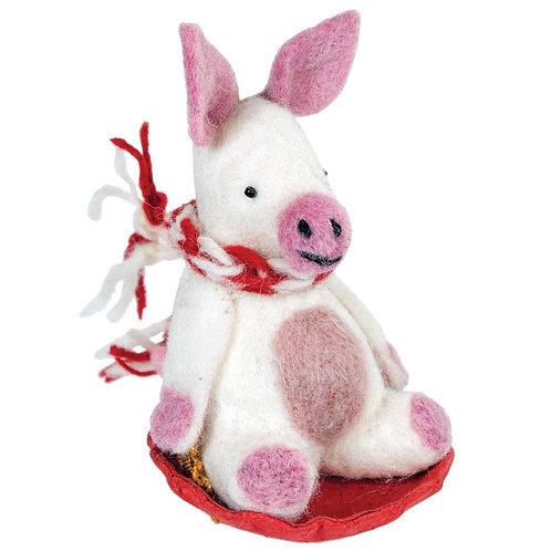 Felt Sledding Pig Ornament