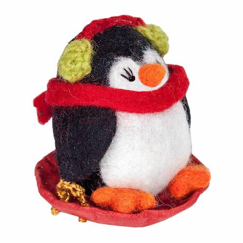 Felt Penguin Sled Ornament