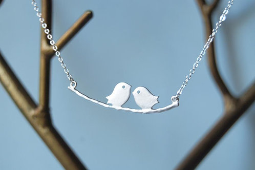 Silver Love Birds Necklace