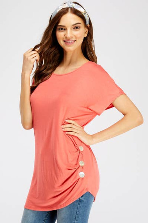 Coral Top with Buttons