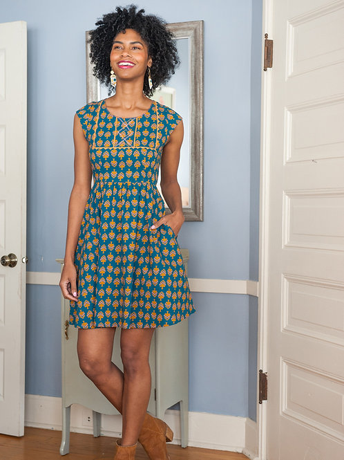 Belltown Dress Aqua