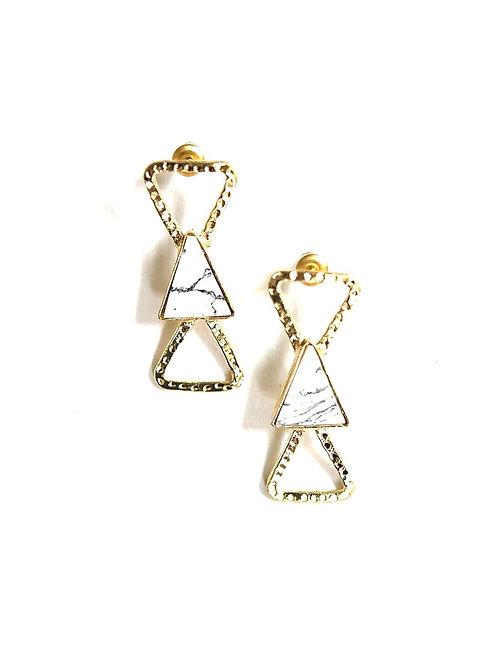 Triple Triangle Marbled Stud Earrings