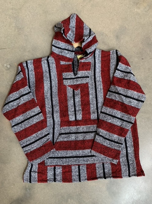 Baja Hoodie Red and Grey XL