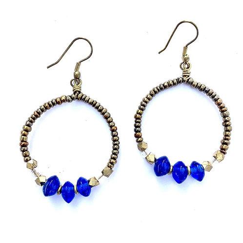 Blue Glass Hoop Earrings