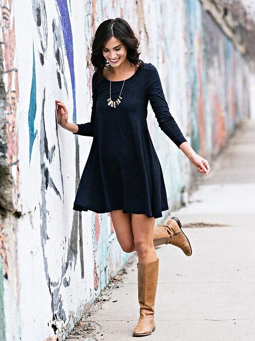 Knit Flounce Dress Indigo