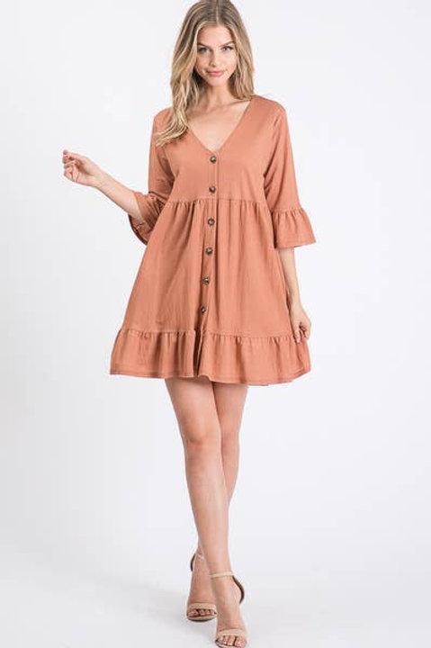 Button Down Tier Dress