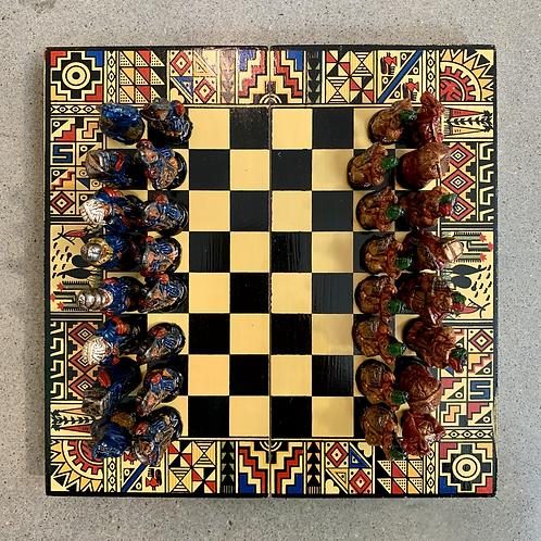 Large Chess Set Yellow Tones