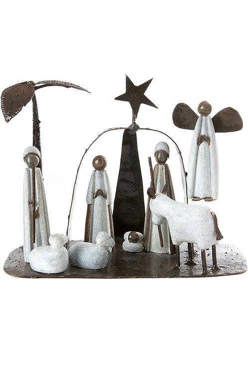 Serpentine Stone and Metal Archway Nativity