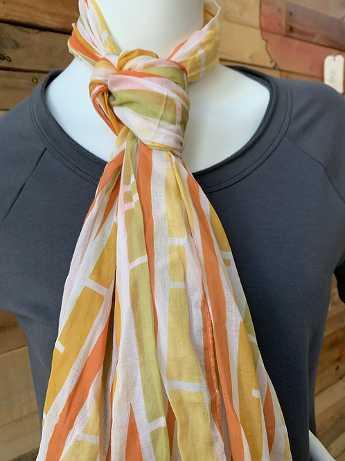 Yellow Columns Cotton Scarf