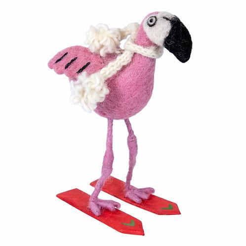 Felt Flamingo Ski Ornament
