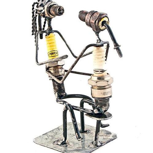 Snuggling Spark Plug Sculpture