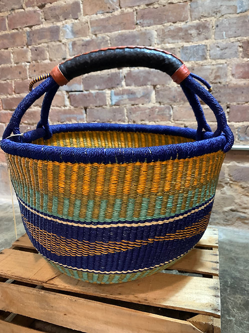 Handwoven Basket Golden Yellow and Blue