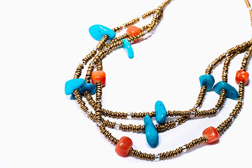 Coral and Turquoise Brass Necklace