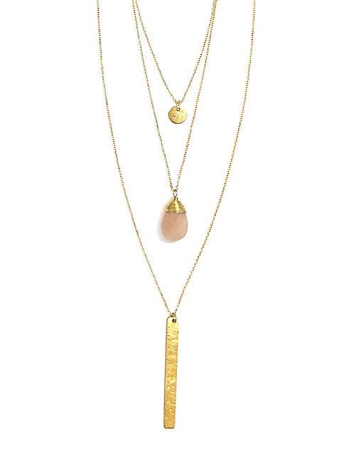 Triple Strand Multi-Way Pendant Necklace Brass
