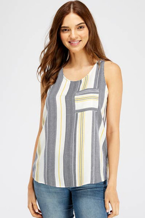 Front Pocket Striped Tank