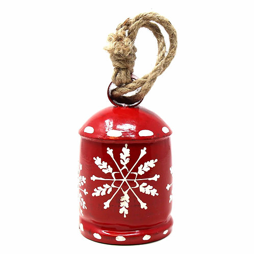 Rustic Red & White Snowflake Bell