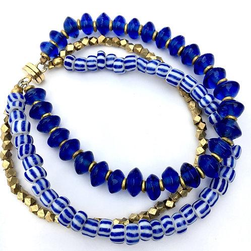 Ocean Blue Glass Magnetic Bracelet