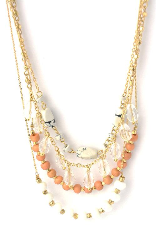 Peach Multistrand Necklace