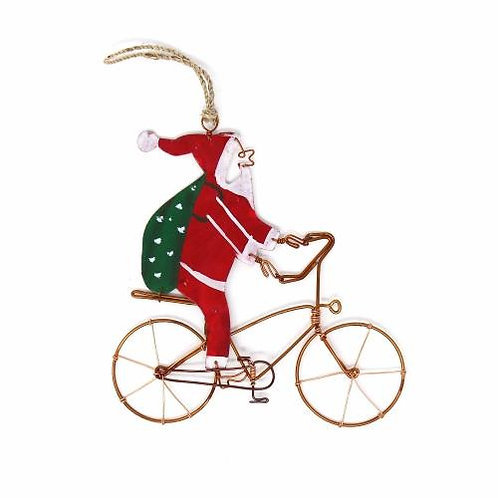 Recycled Bike Riding Santa Ornament