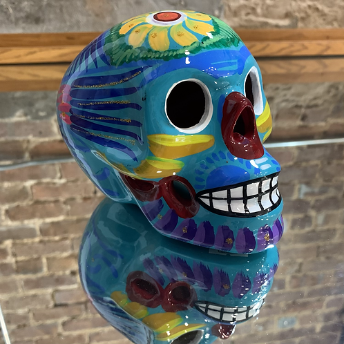 Turquoise with Yellow Skull