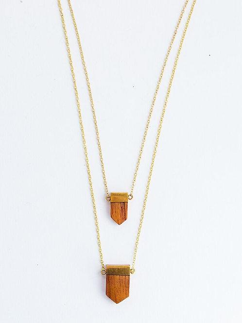 Wooden Emblem Necklace Gold