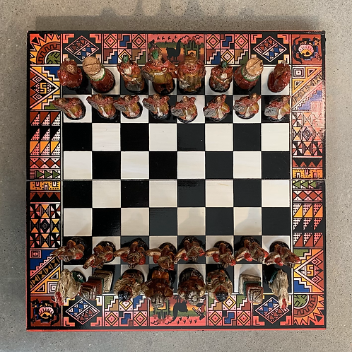 Large Chess Set Red Tones